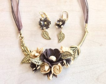 Chocolate and  golden set, with cold porcelain flowers