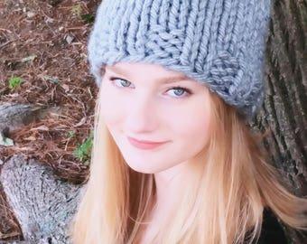 Hand Knit Chunky Gray Hat