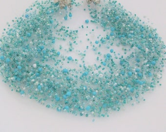Light Turquoise-Blue Air Necklace with Multiple Strands - glass seed beads - Handmade necklace