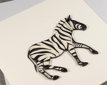 3D Blank Quilled Zebra Animal Card
