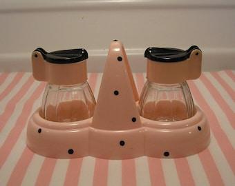 West Germany 50's Plastic Pink w Black Polka Dot Salt & Pepper Shaker in Holder