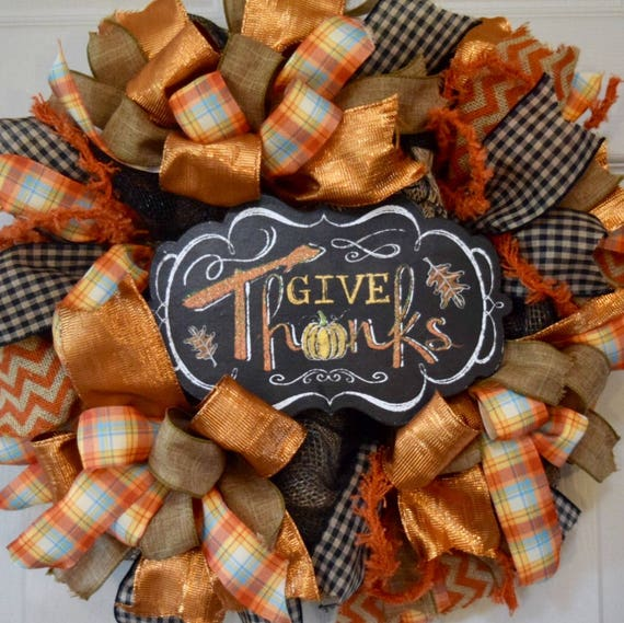 Give Thanks Burlap and Orange Black Mesh Fall Wreath; Thanksgiving Wreath; Thanksgiving Decor; Autumn Wreath Door Decor; Fall Door Decor