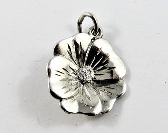 Pansy Flower Sterling Silver Charm or Pendant.