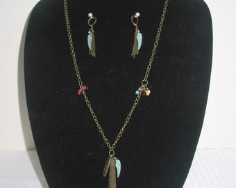 Angel Wings and Tassle Necklace and Earrings