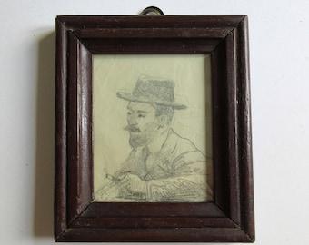 vintage original painting, Eleutherios Venizelos (?) portrait, framed Ελευθέριος Βενιζέλος(;)