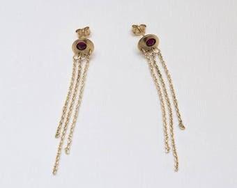 2mm Ruby Drop Earrings, Long dangle earrings Gold, Thread earrings, Chain earrings, Ruby earrings, Ruby stud earrings
