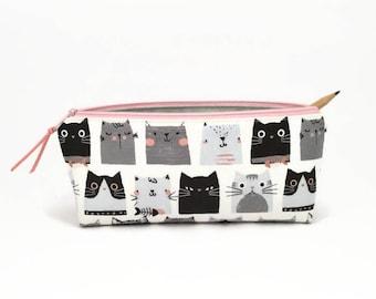 Cat lover gift, Kids pencil pouch, Cat pencil case, Pencil zipper bag, Pencil case, Kids art supplies, Desk accessories, Gifts for kids