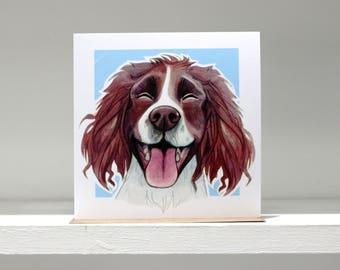 Springer Spaniel (Liver) Greetings Card - Blue