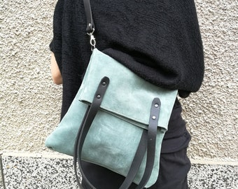 Mint Suede Bag, Soft Bag, Mint green suede bag - cross body everyday suede bag in mint green,