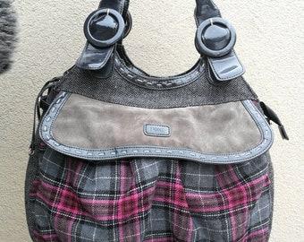Gray Tote Bag, Pink Tote, Tote Bag, Shopping Bag, Women's shoulder bag, Gray Shoulder Bag, Fabric Bag Boho style bag / Gray and pink bag