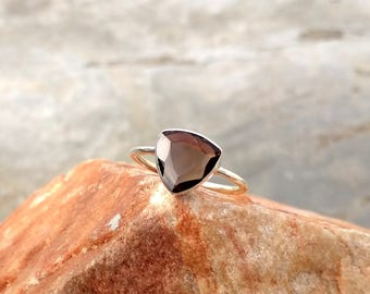 Natural Smoky Quartz Sterling Silver Ring -  Handmade Ring - Gift Ring - Ring for Her - Handmade Silver Ring- Carnelian Ring