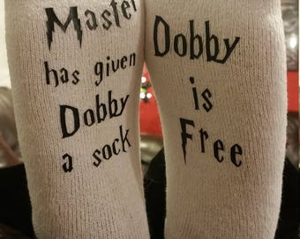 Master has given Dobby a sock - Dobby is Free - Men's or women's socks - Harry Potter - Dobby the Elf - House Elf - Custom socks