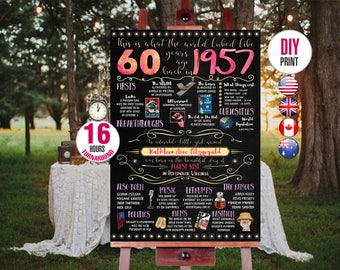 60th birthday gift for woman - 1957 Birthday Chalkboard Poster, Personalized and Printable, 001_60