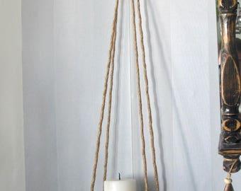 Rustic Rope Hanging Shelf, Wooden Wall Shelf, Reclaimed Wood Hanging Shelf, Bohemian Floating Shelf, Rustic Home Decor