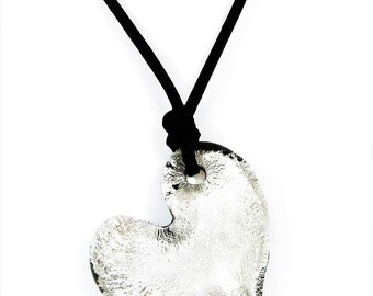 Murano Glass Silver Heart Pendant from Mystery of Venice 'Silver Passion', Murano Glass Heart, Murano Glass Pendant, Murano Glass Jewelry