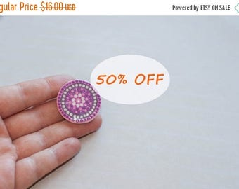 Round brooch, Purple pin, Hand-painted mandala, Round pin, Purple brooch, Disk pin, Purple pin badge, Mandala pin