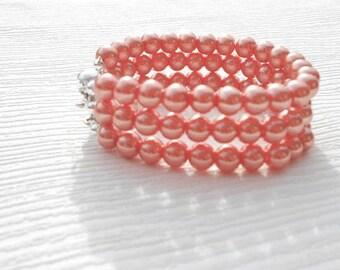 Triple strand peach pearl bracelet, chunky bracelet, wedding jewelry, summer bridal shower, Mother of the bride, birthday present, teacher