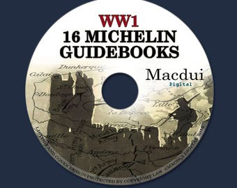 16 Vintage Michelin Guides to the Battlefields WW1 World War One PDF e-Book on 1 DATA CD