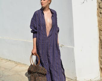 ANAIS Purple striped, ONE SIZE, tunic for women. Pure soft linen. Oversized,Loose fit.