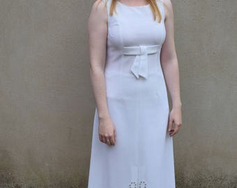 Vintage white studded maxi dress, 1960s