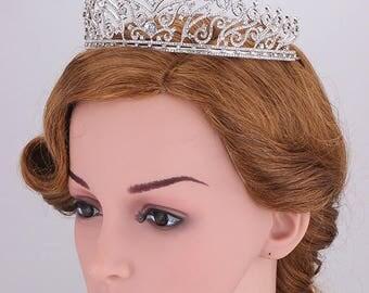 Luxury wedding crown Zircon Crystal Princess Tiara Diamante Crown Bridal tiara Rhinestone crown Zircon wedding tiara Silver Tiara
