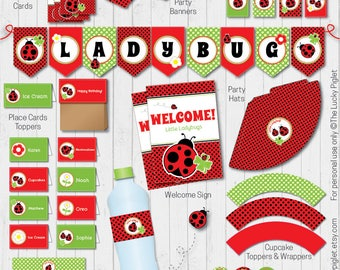LADYBUG PARTY Invitation and Party Decoration | Full Printable Ladybug Party Package | Instant Download, Edit Text in Adobe Reader