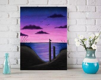 Beach Sunset Wall Art, Sunset Landscape Canvas, Beach Sunset Canvas, Beach Landscape Art, Beach Sunset Tabletop Canvas