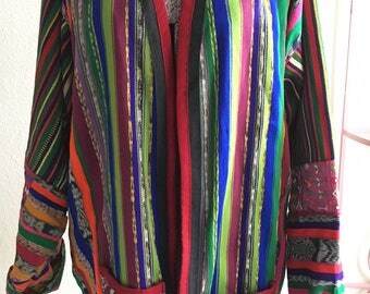 Vintage Guatemalan Striped Ethnic Open Blazer Jacket Blazer Coat | Open Size