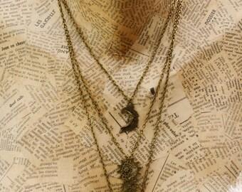 """Mechanics of the fairies"" labradorite necklace, bronze"