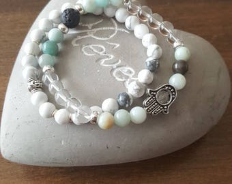 Amazonite, rock crystal and white howlite, set of 2 bracelets.