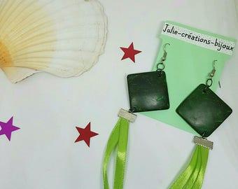 Green Ribbon and wood stud earrings