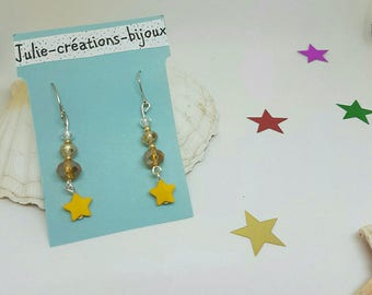Crystal and star earrings