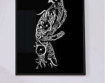 Arabic Calligraphy Rumi Poetry - Arabic Calligraphy Hawk - Arabic Wall Art - White on Black - Persian Poetry