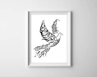 Arabic Calligraphy Dove Print - Mikhail Naimy Poetry - Arabic Art - Arabic Home Decor