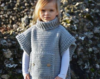CROCHET PATTERN - The Pebble Poncho (1/2, 3/4, 5/7, 8/10, 11/13, 14/16, S/M, L/XL) - crochet pullover poncho pattern -Instant pdf Download