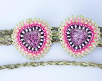 Leopard beadwork earrings