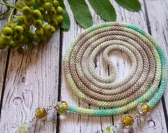 Lariat long necklace glass beads crocheted rope spiral seed beads beaded necklace long necklace seed bead mint green seed bead beadweaving