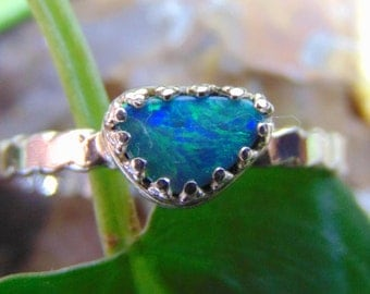 natural black opal ring: solid lightning ridge opal, .925 solid sterling silver, picture opal- scenic ocean, mountain, aurora