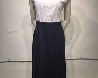 Vintage High-waisted Knit Black Sweater Midi Skirt