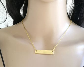 Bar Necklace, Gold Bar Necklace, Dainty Bar Necklace, Shiny Bar Necklace, Delicate Bar Necklace, Layering Necklace, Minimal Gold Necklace