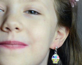 Easter Basket Child's Post Earrings