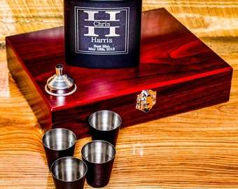 Personalize for Him, Flask for Groomsmen, Father of the Bride, Engrave Flask, For Him, Hip Flask, Flask Set, Groomsman Flask, Suncoast Laser
