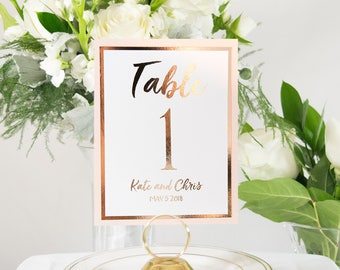 Personalized Rose Gold Foil and Blush Table Numbers Handmade Wedding #0129