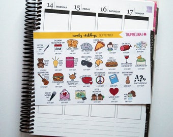 September Wacky Holidays Planner Stickers