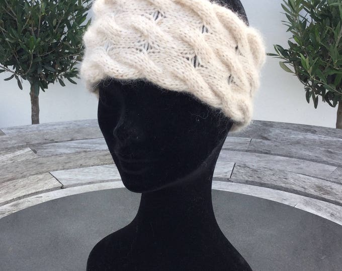 Alpaca headband, ear warmer in wheat by Willow Luxury