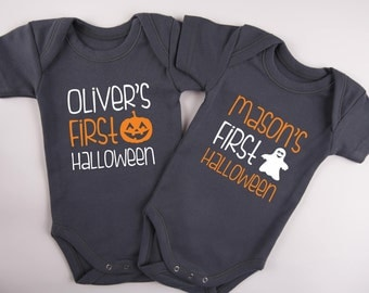 FIRST HALLOWEEN Twin Outfits, Set of 2 Matching Graphite Gray Baby Bodysuits, Halloween Twin Baby Shower, 1st Halloween, Twin Gifts