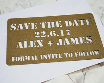 Custom Cut Out Save The Dates with envelope