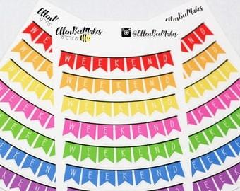 Rainbow Weekend Planner Banner Stickers