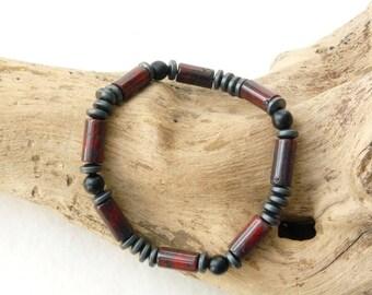 Beads Men Bracelet, Elastic Stretch Hematite Boho African Bohemian Ethnic, Beaded Bracelet, Mens Gift, Boyfriend Gift, Beaded Bracelet