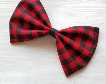 Buffalo Plaid Bow, Red and Black Bow, Christmas Hair Bow, Girls Xmas Bow, Fabric Bow, Girls Xmas Clip, Girls Barrette, Toddler Hair Bow